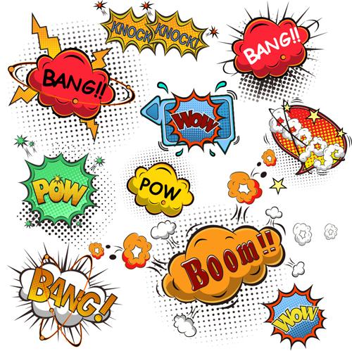 Funny speech bubbles comic styles vectors 03