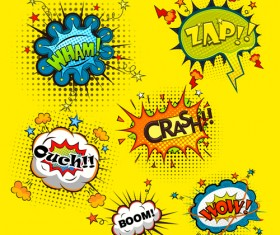 Funny speech bubbles comic styles vectors 04