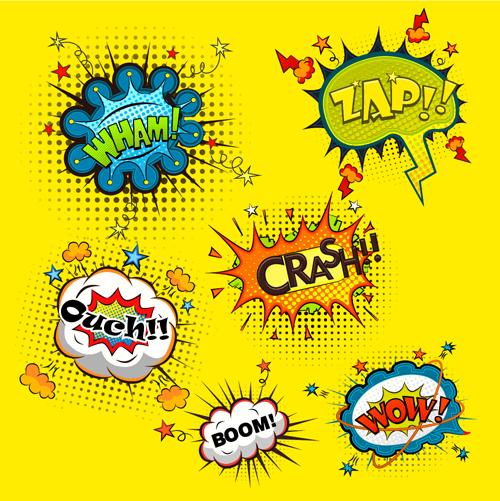 Funny speech bubbles comic styles vectors 04
