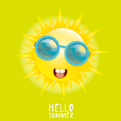 Funny Sun Cartoon Summer Vector Background 02