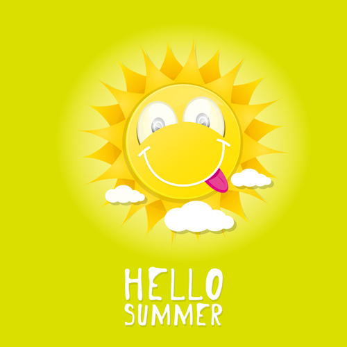 Funny Sun Cartoon Summer Vector Background 08