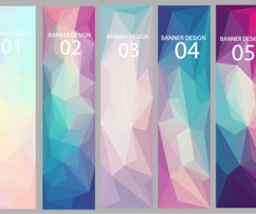 Geometric shapes numbered banners vector material 01