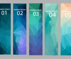 Geometric shapes numbered banners vector material 02