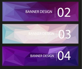 Geometric shapes numbered banners vector material 03