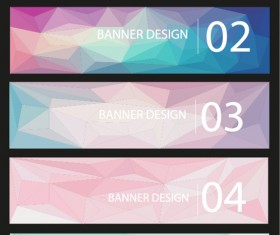 Geometric shapes numbered banners vector material 04