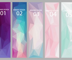 Geometric shapes numbered banners vector material 05