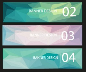 Geometric shapes numbered banners vector material 06