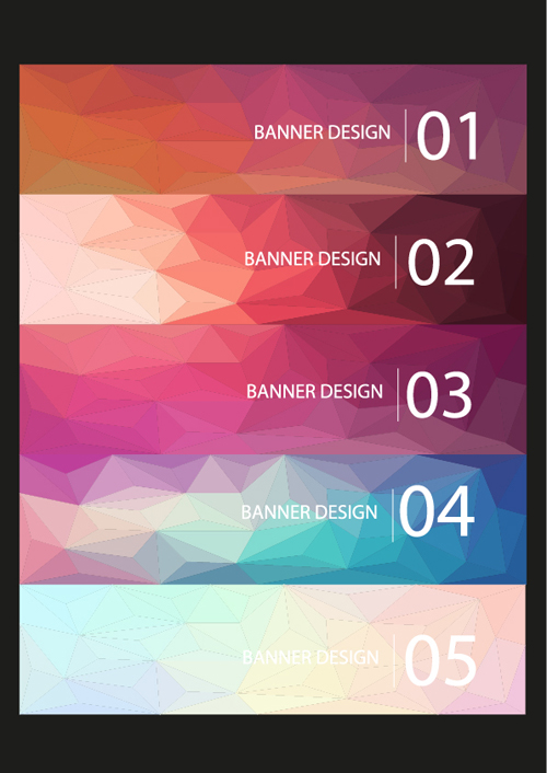 Geometric shapes numbered banners vector material 07