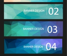 Geometric shapes numbered banners vector material 09