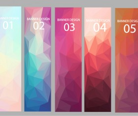 Geometric shapes numbered banners vector material 10