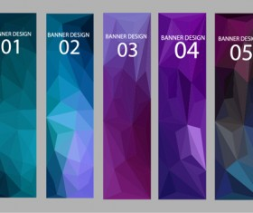 Geometric shapes numbered banners vector material 11