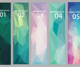 Geometric shapes numbered banners vector material 12