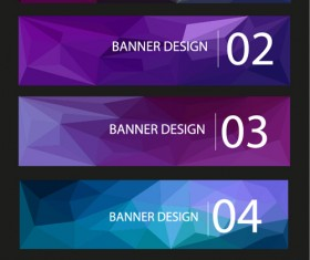 Geometric shapes numbered banners vector material 13