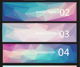 Geometric shapes numbered banners vector material 14