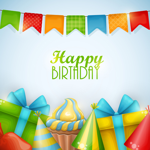 Gift With Sweet Birthday Background Vector Free Download