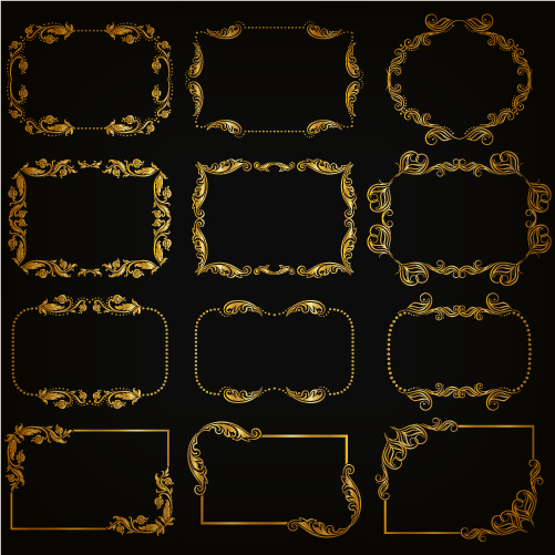 Gold frame shiny vector set 03