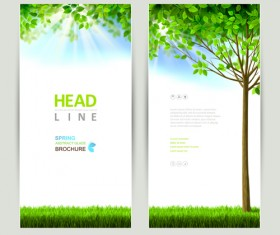 Green leaves with sunlight banners vector material 02