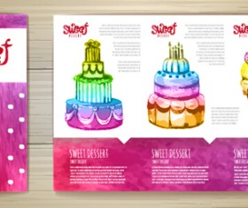 Hand drawn cake poster with card vector 04
