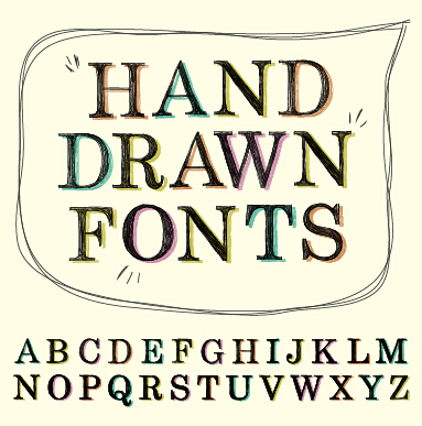 Hand Drawn Fonts Creative Vector 03