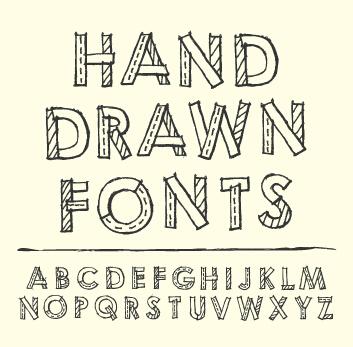 Hand Drawn Fonts Creative Vector 04 Vector Font Free