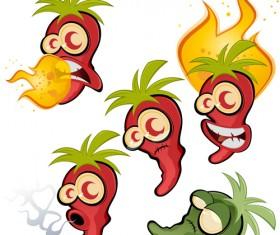 Hot chili peppers funny cartoon vectors 03