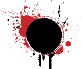 Ink marks black with red grunge background vector