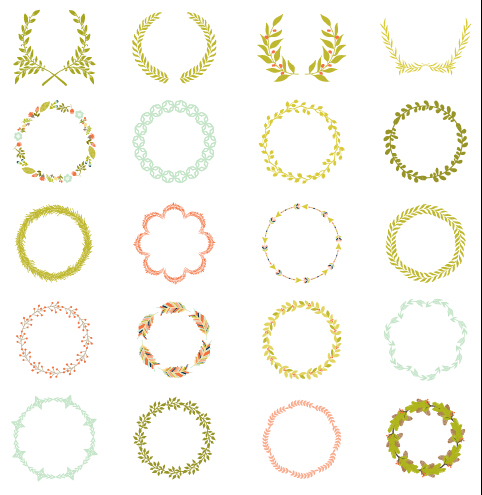 Laurels with wreaths frames vectors