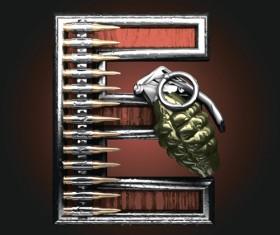 Metal alphabet with bullet and grenade vectors set 05