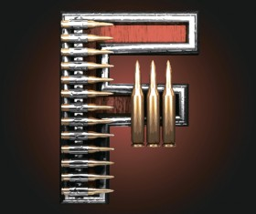 Metal alphabet with bullet and grenade vectors set 06