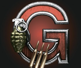 Metal alphabet with bullet and grenade vectors set 07