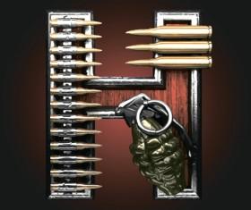 Metal alphabet with bullet and grenade vectors set 08