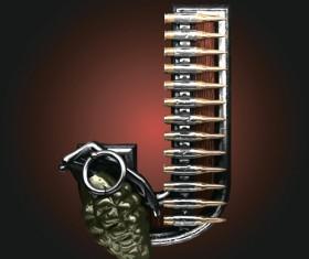 Metal alphabet with bullet and grenade vectors set 10