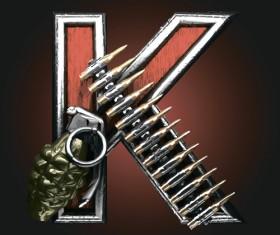 Metal alphabet with bullet and grenade vectors set 11