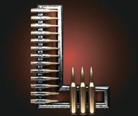 Metal alphabet with bullet and grenade vectors set 12