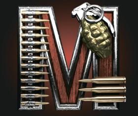 Metal alphabet with bullet and grenade vectors set 13