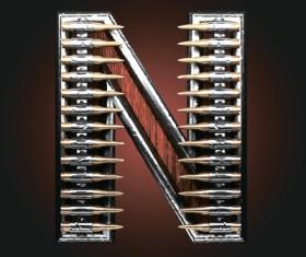 Metal alphabet with bullet and grenade vectors set 14