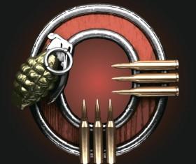 Metal alphabet with bullet and grenade vectors set 15