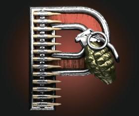 Metal alphabet with bullet and grenade vectors set 16