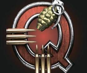 Metal alphabet with bullet and grenade vectors set 17