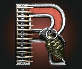 Metal alphabet with bullet and grenade vectors set 18
