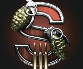 Metal alphabet with bullet and grenade vectors set 19