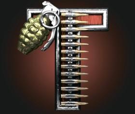 Metal alphabet with bullet and grenade vectors set 20