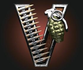 Metal alphabet with bullet and grenade vectors set 22