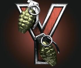 Metal alphabet with bullet and grenade vectors set 25