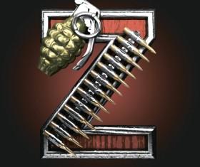 Metal alphabet with bullet and grenade vectors set 26