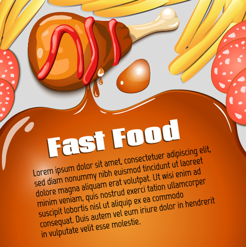 Modern fast food poster material vector 07