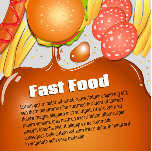 Modern fast food poster material vector 08
