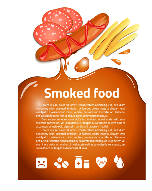 Modern fast food poster material vector 12