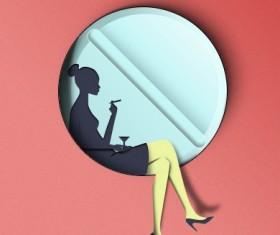 Paper-cut woman psd graphics