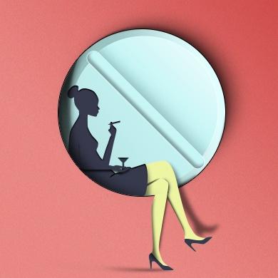 Paper cut woman psd graphics